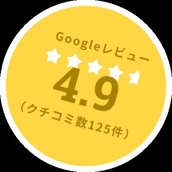 Googleレビュー4.9 クチコミ数125件